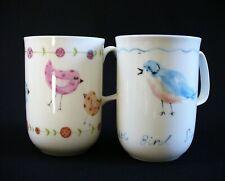 2~Rose of England~BLUE~PINK~COFFEE MUGS~BIRDS~Hand Painted~BONE CHINA~Clean~EUC