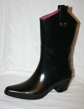 CAPELLI SLIP ON COWBOY RAIN BOOTS CHUNK HEEL RUBBER CALF BOOT womens 7 BLACK