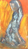 Vintage expressionist oil painting girl portrait