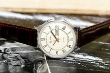 Vintage White Slava Glory USSR Soviet Russian Men's Watch with new leather strap