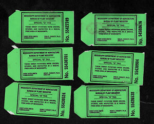 """Mississippi Sweet Potato Inspection Tags - Lot of 6 Special """"Q"""" Tags"""