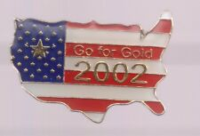 2002 Salt Lake City Olympic Pin Go For The Gold US Country USA Flag