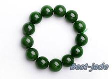 Cert 16mm Grade A Pure Green Nephrite Beads Men Bracelet Canadiian Jade Bangle