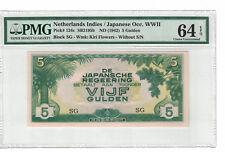 """NETHERLANDS INDIES 5 Gulden 1942 Block """"SG"""" Pick# 124c PMG :64 EPQ (#PL947)"""