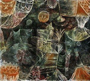 """PAUL KLEE """"Stage Scenery"""" FANTASY landscape moon imagination CANVAS or PAPER!!"""