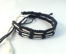 2 x Black and White Waxed Cotton Bracelet Anklet Wristband Womens Mens Beach