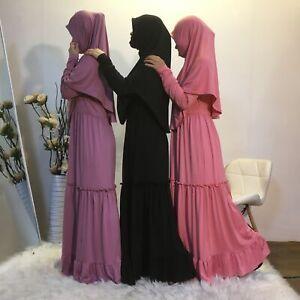 2 Piece Muslim Women Overhead Jilbab Hijab Abaya Khimar Prayer Dress Kaftan