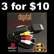 LOT OF 3 - A/V Cable Cord (NEW) Playstation PS1, PS2, PS3 (AV Audio Video 1 2 3)