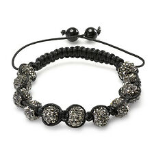 Shamballa Bracelet 10mm Black Gunmetal Disco Ball Faceted Bead Unisex Adjustable