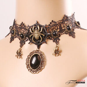 Vintage Victorian Gothic Steampunk Spider Web Lace Choker Necklace Spider Choker