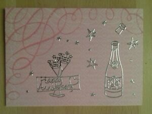 Handmade Anniversary card - Silver champagne bottle
