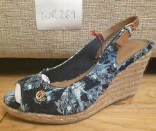 Wrangler W269 ladies womens blue flowers wedge heel open toe sandals UK 4 EU 37