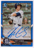 2018 Bowman Draft Chrome Pick Blue Wave Refractor /150 Kody Clemens #CDA-KC Auto