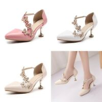 EUR Size 35-45 Womens Floral Kitten Heels Fashion Pointed Toe Pumps Casual Shoes