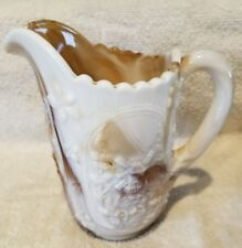 Vintage Imperial Glass Slag Pitcher Brown Marbled- Man/Canoe Tree Windmill! EUC!