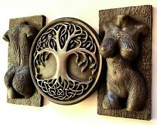 Sexy erotic tattooed torso and tree of life sculpture wall decor bronze gift