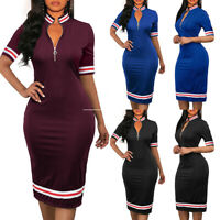 Women Zipper Bandage Pencil Dress Bodycon Short Sleeve  Evening Party Cocktail