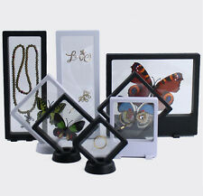 Clear Jewelry Suspended Coins Floating Display Case Stand Holder Box GREAT