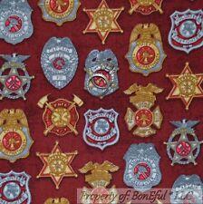 BonEful Fabric FQ Cotton Quilt RED FIRE Man Fighter Hero Badge Star Boy 911 RARE