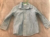 Sainsburys TU girls red white check school dress with flower buttons age 4 vgc