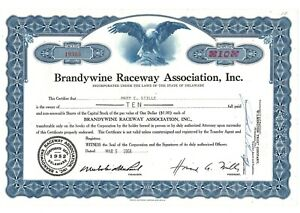 Stock Certificate of Brandywine Raceway Association