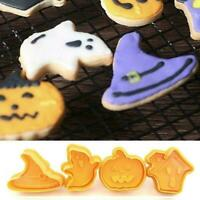 4Pcs/Set Halloween Cookie Mould Biscuit Stamp 3D Plunger Cutter Tools DIY N7W0