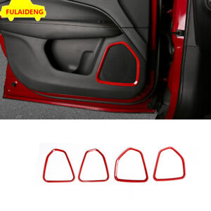 4pcs For Jeep Compass 2017-2020 ABS Red Inner Door Speaker Ring decor Cover Trim