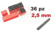 SET PUNZONI STAMPINI ALFANUMERICI 36pz KIT DA 2,5mm LETTERE E NUMERI CUSTODIA PL