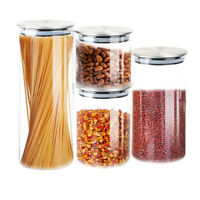 4 Pcs Glass Kitchen Heat Resistant Food Storage Container Set Cereal Storage Jar