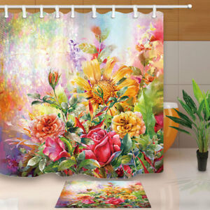 "Sunflower Rose Leaves Waterproof Bathroom Fabric Shower Curtain & Hooks 71"""