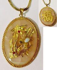 pendentif chaine top qualité cristaux pierre rose bijou vintage couleur or *4884