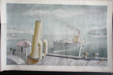 Felix Kelly. Drifter and Paddle Steamers. Original School Print, 1946