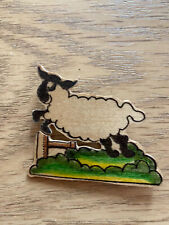 over a fence Wooden Brooch Sheep jumping