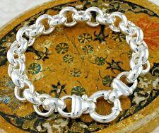 """925 Sterling Silber runde Klobig große Rolo links programmiert Armband 8"""" cm"""