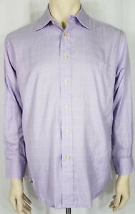Peter Millar purple lavender plaid cotton long sleeve button up shirt 16.5 Reg