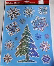 CHRISTMAS Window Clings CHRISTMAS TREE W/SNOWFLAKES