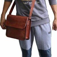 Men's Genuine Vintage Leather Messenger Laptop Briefcase Satchel Brown Bag Purse