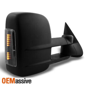 Fits 03-07 Silverado Smoke Power Heated LED Signal Extendable Right Tow Mirror