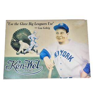 Lou Gehrig Ken Wel NY Yankees Baseball Glove Advertising Metal Tin Sign Repro
