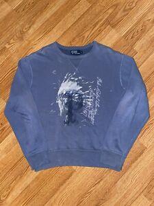 Polo Ralph Lauren Indian Head Sweater Blue Long Sleeve -90s Vintage Sz- Large