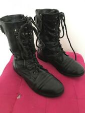 Black Biker Look Flat Boots Zip Buckles Laces Military Size 3