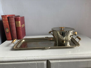 Vintage Antique Silver Plated Tray And Ice Bucket With Lid - Drinks Serving Tray