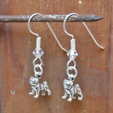 Pug Dangle Sterling Silver Earrings (JEDP320) - Free Shipping