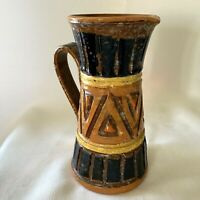 """VTG Italy Art Pottery Pitcher Jug 7"""" Primitive Brutalist Geometric Modern Brown"""