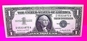 $1 One Dollar SILVER CERTIFICATE Series 1957 A BLUE Seal Bill Money Great Note