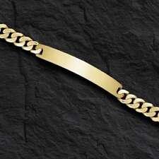"14k Solid Yellow Gold Handmade Men ID Curb Link HEAVY Bracelet 7.5mm 27 grams 8"""