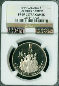 1984 CANADA JACQUES CARTIER DOLLAR NGC PF-69 UHCam MAC FINEST MAC SPOTLESS .