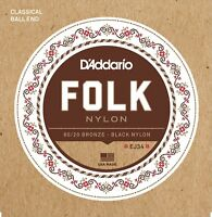 D'Addario EJ34 Ball End  80/20 Bronze  Black Nylon Trebles Guitar Strings