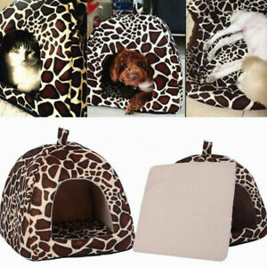 Leopard Kennel Pet Bed Cushion Dog Cat Warm Mat Soft Pad Sleeping Nest Hous K9C1