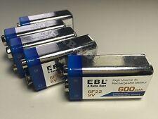 5 PILES ACCUS RECHARGEABLE 9V 600mAh 6LR61 6F22 EBL Li-ion QUALITÉ EXPERT